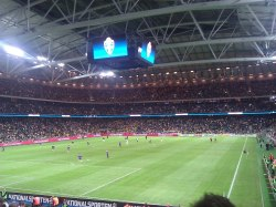 A cramed pack opening at the new home of Swedish football - The Friends Arena, Football Stadium, Stockholm - Chris Marsden